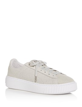 Women's Basket Perforated Nubuck Leather Lace Up Platform Sneakers by Puma