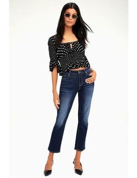Brigitte Dark Wash Boyfriend Skinny Jeans by Lulu's