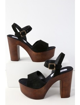 Lulla Black Suede Leather Platform Sandals by Lulu's