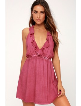 Newport Washed Berry Ruffled Backless Dress by Lulu's