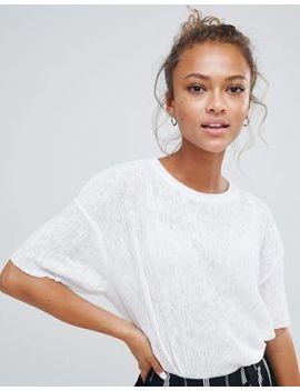 Bershka Plisse Tshirt In White by Bershka