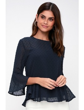 Picturesque Navy Blue Flounce Sleeve Top by Lulu's