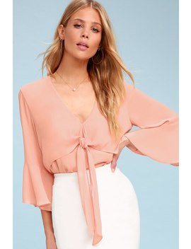 Elmira Blush Tie Front Flounce Sleeve Top by Lulu's