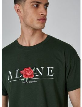 Green 'alone' Applique T Shirt by Topman