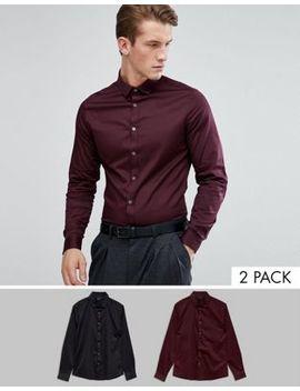 Asos Slim Sateen Shirt Multipack In Black And Burgundy by Asos