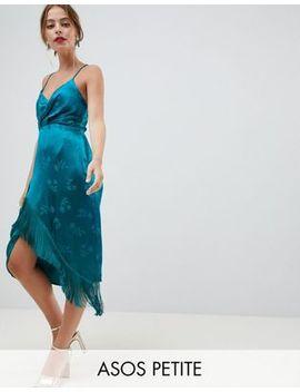 Asos Design Petite Lace Up Back Fringe Soft Jacquard Mini Dress by Asos Design