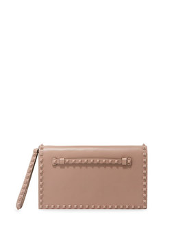 Monochrome Rockstud Leather Wristlet Clutch Bag by Valentino Garavani