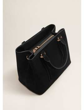 Leather Tote Bag by Mango