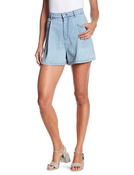 Pleated High Rise Denim Shorts by Mo:Vint