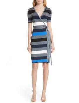 Diane Von Furstenberg Stripe Knit Wrap Dress by Dvf