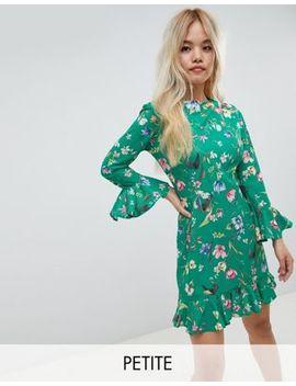 john-zack-petite-frilly-skater-dress-in-green-floral by john-zack-petite