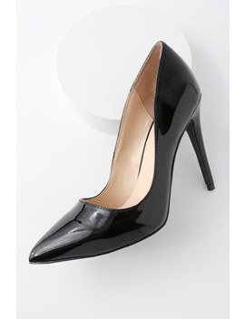 Verna Black Patent Pointed Pumps by Lulu's