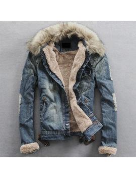 fulinken-men-slim-fur-collar-denim-washed-jean-jacket-thicken-coat-outerwear by fulinken