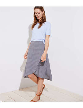 Gingham A Line Wrap Skirt by Loft