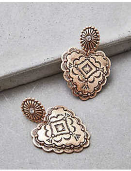 Aeo Frontal Gold Western Heart Earrings by American Eagle Outfitters