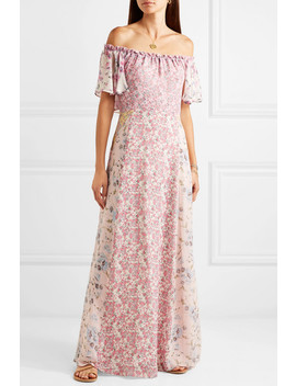 Evelyn Off The Shoulder Floral Print Silk Georgette Maxi Dress by Love Shack Fancy