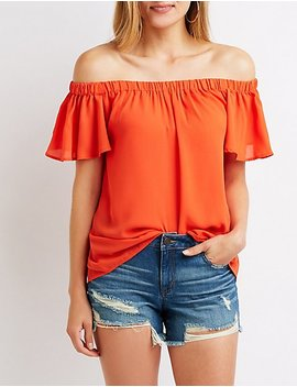 Flutter Sleeve Off The Shoulder Top by Charlotte Russe