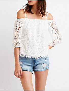 Lace Cold Shoulder Top by Charlotte Russe