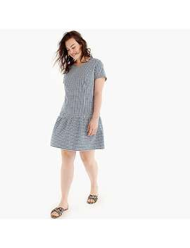 Universal Standard For J.Crew Poplin Drop Waist Dress In Gingham by J.Crew