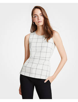 Windowpane Knit Peplum Shell by Ann Taylor