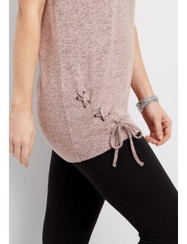 Brushed Lace Up Side Pullover Hoodie by Maurices