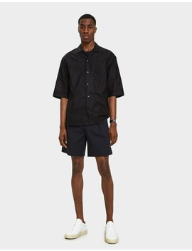 Convertible Collar Shirt In Black by Lemaire