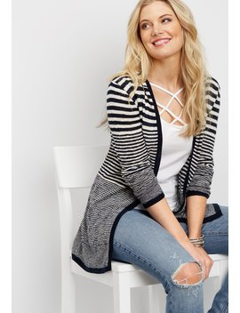 Striped Hooded Cardigan by Maurices