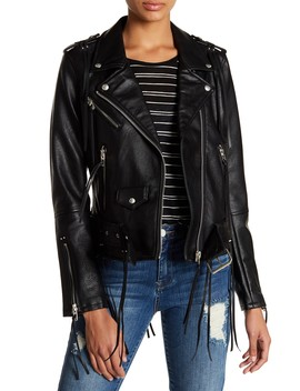 Faux Leather Tassel Moto Jacket by Blanknyc