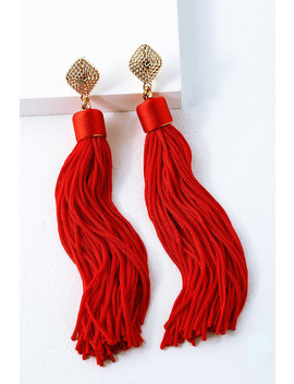 Royal Ways Red Tassel Earrings by Lulu's