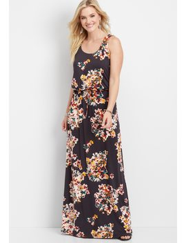 24/7 Lattice Back Floral Maxi Dress by Maurices