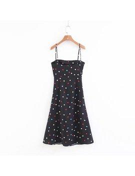 Summer Kawaii Polka Dot Mini Dress Women Backless Black Cami Beach Dress Sexy Off Shoulder Chiffon Party Dresses 2018 Vestidos by Davidyue