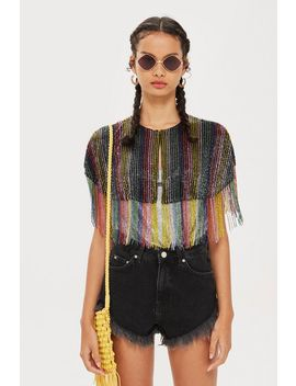 Festival Rainbow Beaded Cape by Topshop