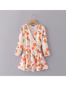 Vintage Floral Tulip Print Wrap Dress Women Long Sleeve White Ruffles Chiffon Dress Summer Korean Mini Beach Dress 2018 Vestidos by Davidyue