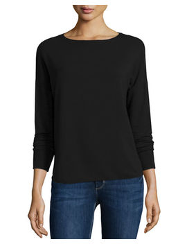 French Terry Long Sleeve Top by Majestic Paris For Neiman Marcus