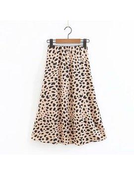 Sexy Print Leopard Skirt Women Summer High Waist Skirt Streetwear Korean Fashion A Line Midi Skirt 2018 Retro Faldas Mujer by Davidyue