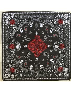100 Percents Cotton  Hip Hop Skull  Black Paisley Bandana Bandanna Headwear/Hair Band Scarf Neck Wrist Wrap Band Headtie For Women/Mens by Baoruluck