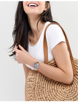 Olivia Burton Ob16 Wg52 Dark Bouquet Mesh Watch In Rose Gold by Olivia Burton