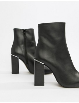 Asos Design Verity Leather Heeled Ankle Boots by Asos Design