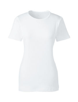 Women's Plus Size Petite Shaped Cotton Crewneck T Shirt by Lands' End