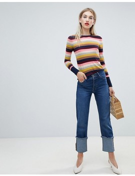 Warehouse Rainbow Stripe Crew Neck Jumper by Warehouse