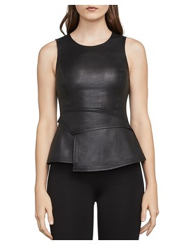 Tori Faux Leather Front Peplum Top by Bcbgmaxazria