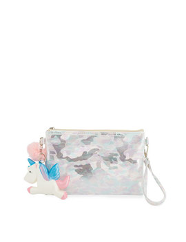 Girls' Camo Pouch Bag W/ Fur Pompom & Squeeze Unicorn by Bari Lynn