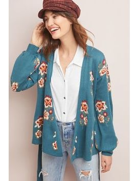 Floral Intarsia Wrapped Cardigan by Moth