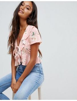 Asos Design Tie Front Top In Pink Base Floral Print by Asos Design