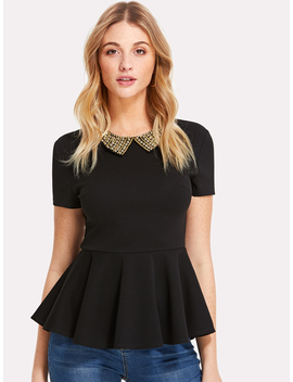 Pearl Embellished Collar Zip Back Top by Romwe