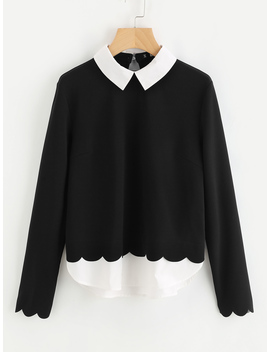 Contrast Collar And Hem Scalloped Blouse by Romwe
