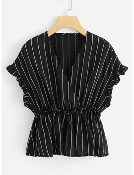 Frill Striped Ruched Waist Blouse by Romwe