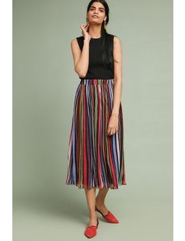 Rainbow Striped Midi Skirt by Laia