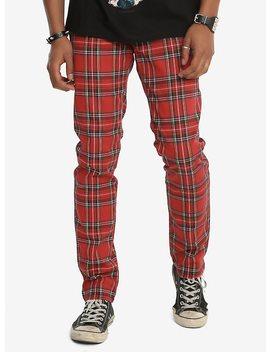 Tripp Red Tartan Plaid Skinny Pants by Hot Topic
