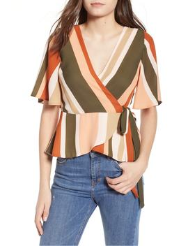 Stripe Flutter Sleeve Wrap Top by 4 Si3 Nna
